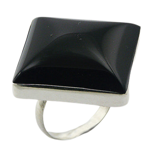 Black Agate Square Cut Ring with 925 Sterling Silver- adjustable size