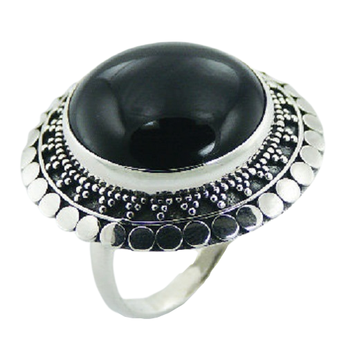 Black Agate Round Ring with Ornate 925 Sterling Silver- adjustable size