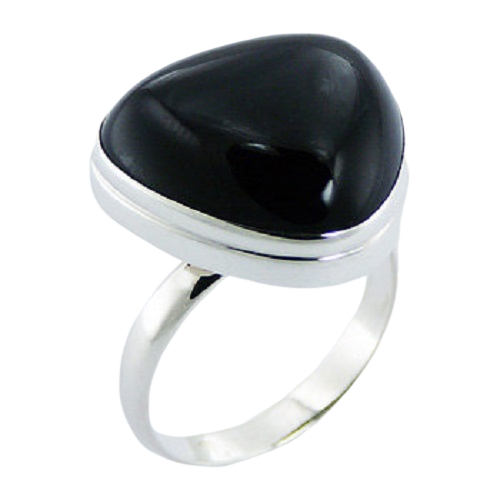Black Agate Triangle Ring  925 Sterling Silver- adjustable size