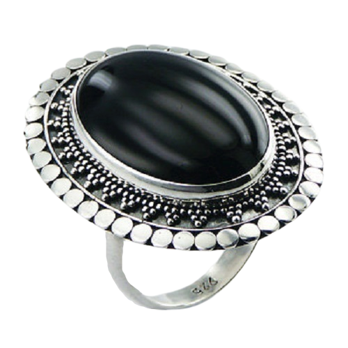 Black Agate Oval Ring with Ornate 925 Sterling Silver- adjustable size