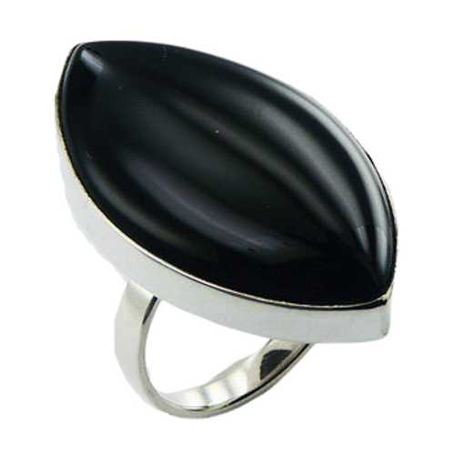 Black Agate Ring 925 Sterling Silver Marquise Shape - adjustable size