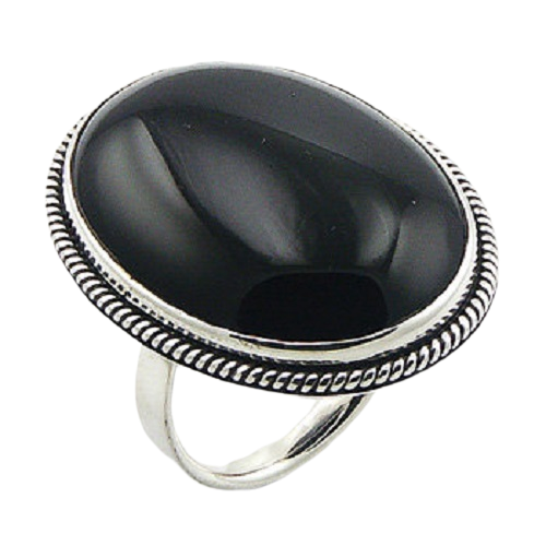 Black Agate Ring Elegant Design with 925 Sterling Silver- adjustable size