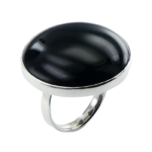 Black Agate Ring Classic Round on 925 Sterling Silver- adjustable size