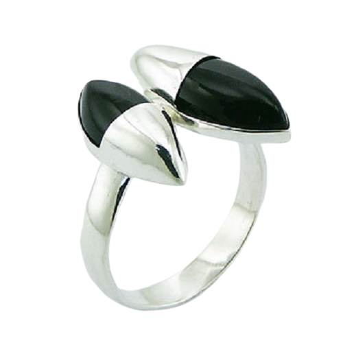 Black Agate Ring  925 Sterling Silver Double Marquise  - adjustable size
