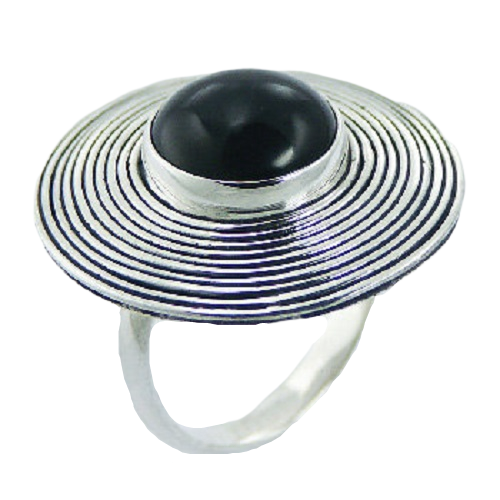 Black Agate Round Ring  925 Sterling Silver Fluted Design - adjustable size