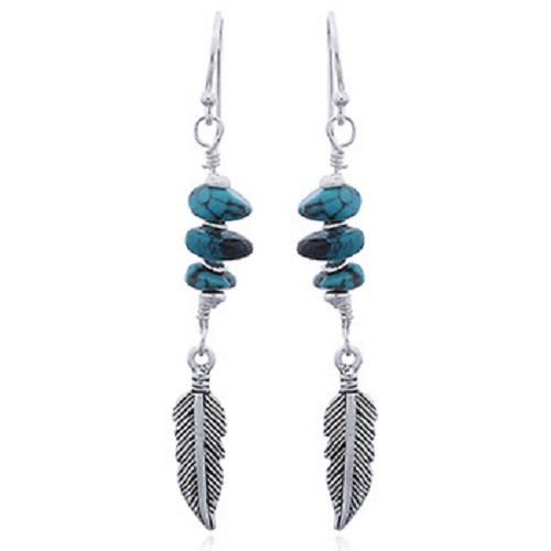 Silver Hook Earrings Feather with Turquoise Beads