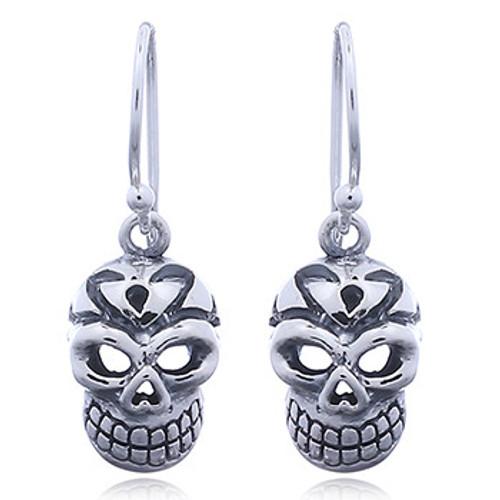 Hook Earrings Silver Skull Heart Nose Design