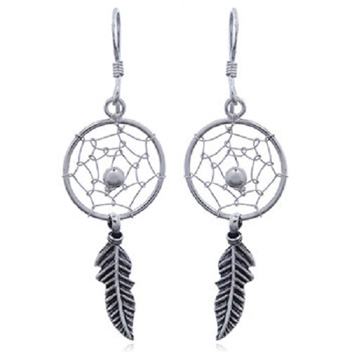 Hook Earrings Silver Dream Catcher with Feather