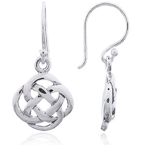 Hook Earrings Silver Round Celtic Knot