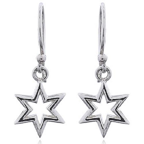 Hook Earrings Silver Six Pointed Star Dainty