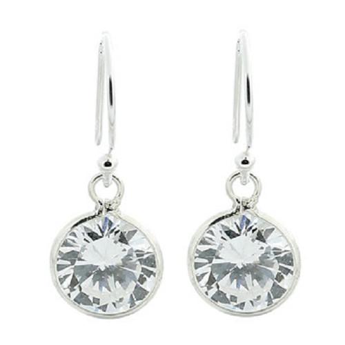 Hook Earrings Silver Clear Cubic Zirconia Elegant