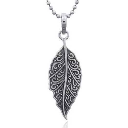 Silver Pendant Art Wave Leaf