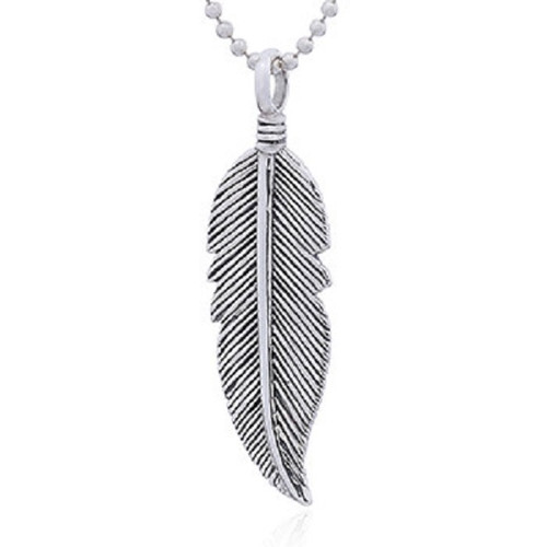 Silver Pendant Antiqued Tribal Feather