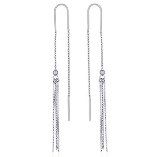 Threader Earrings Sterling Silver Chains with Tassel