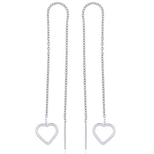 Threader Earrings Sterling Silver Love Hearts