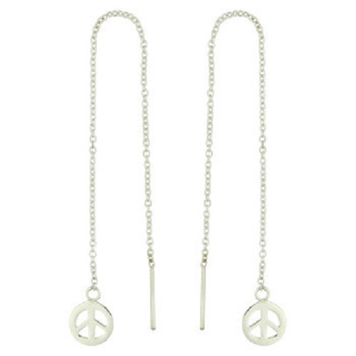 Threader Earrings Sterling Silver Peace Symbol