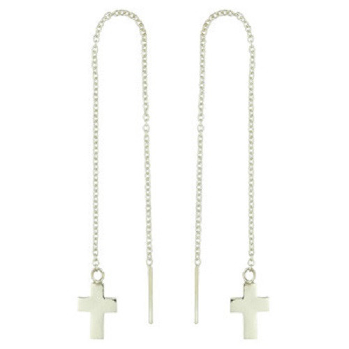 Threader Earrings Sterling Silver Cross on Cable Chain