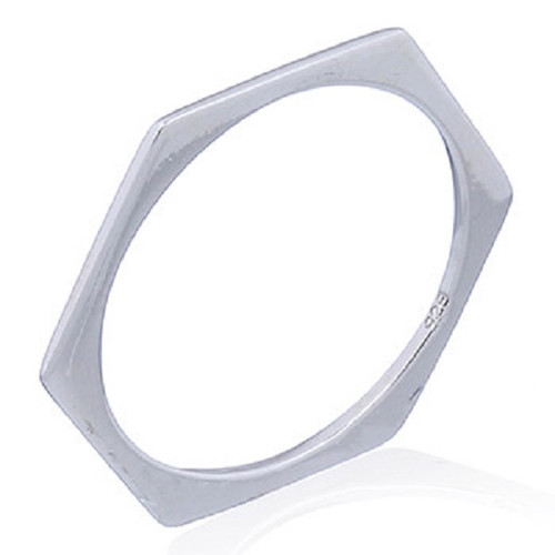 Stack Ring Sterling Silver Flat Hexagon