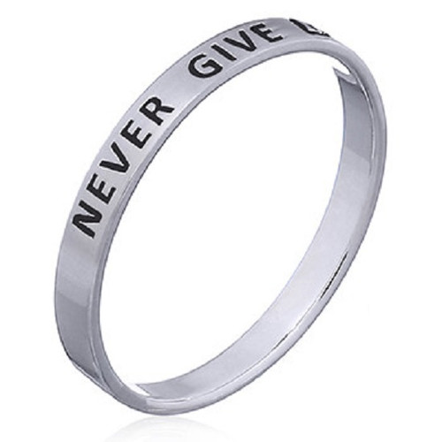 Sterling Silver Band Ring  NEVER GIVE UP
