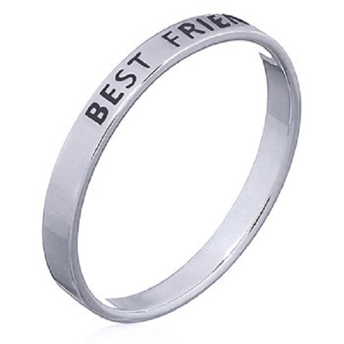 Sterling Silver Band Ring BEST FRIENDS