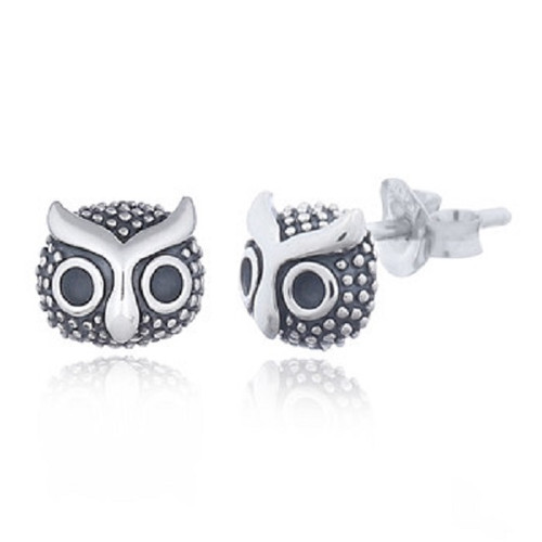 Silver Stud Earrings Dainty Cute Owls