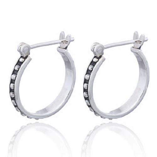 Silver Hoop Earrings Boho Beaded Design