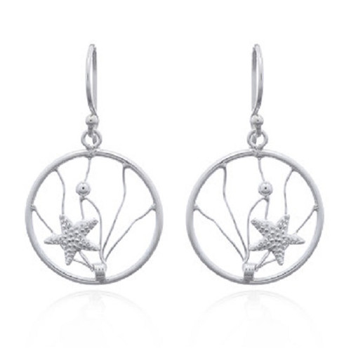 Hook Earrings Silver Starfish In Wire Ocean Wave
