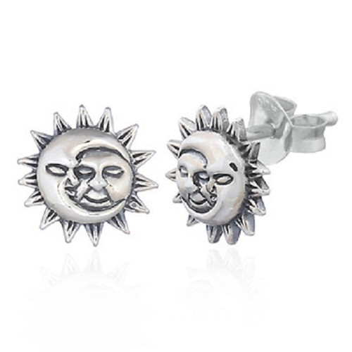 Silver Stud Earrings Crescent Moon & Sun