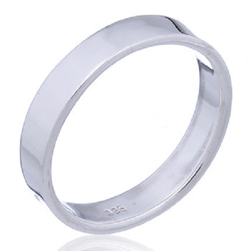 Sterling Silver Band Ring- 4mm wide- Flat Style- Cylinder