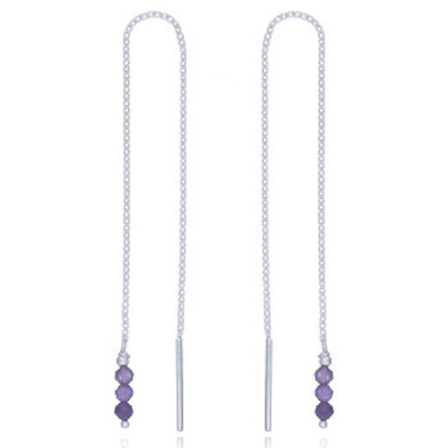 Threader Earrings Sterling Silver Amethyst Gemstone Beads