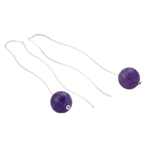Threader Earrings Sterling Silver  Amethyst Gemstone Spheres