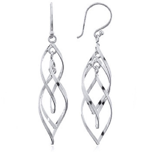 Hook Earrings Silver Open Interlocked Leafs Wire Work