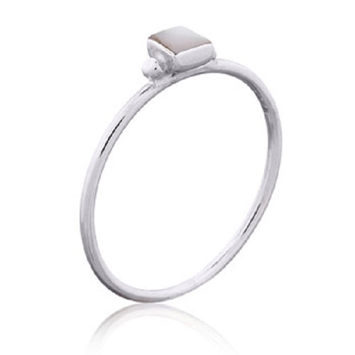 Mother Of Pearl Square Sterling Silver Ring