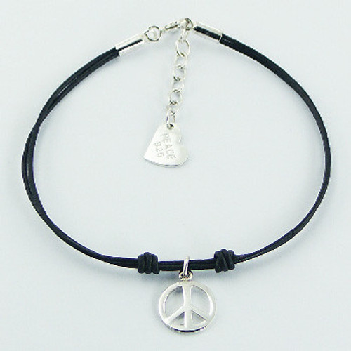 Bracelet with double black leather and sterling silver peace symbol charm