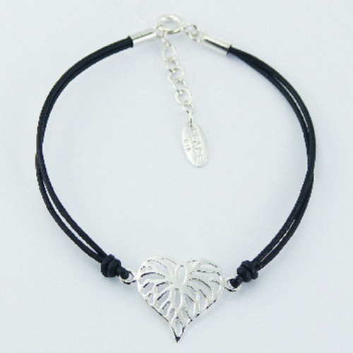 Silver bracelet  with black leather and shiny sterling silver heart charm