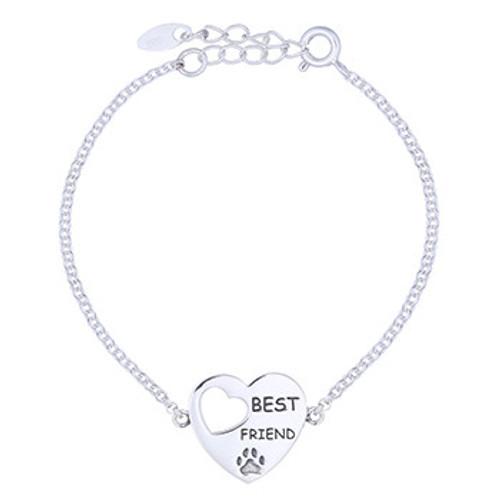 Silver bracelet with engraved Best Friend Heart