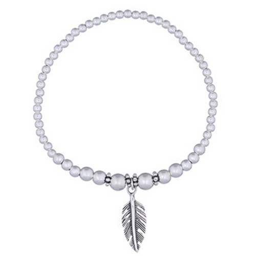 Tribal Feather Bracelet -925 sterling silver beads with antiqued silver tribal feather