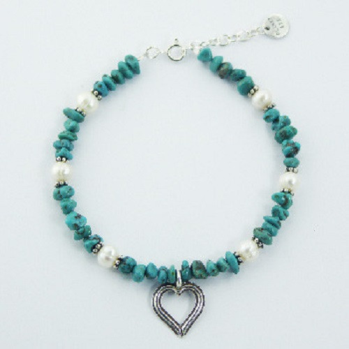 Bracelet Pearl & Turquoise gemstone beads with Sterling Silver heart charm