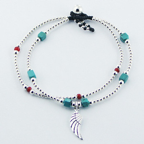 Silver bracelet Macrame Silver, Glass, Turquoise Beads with Wing charm