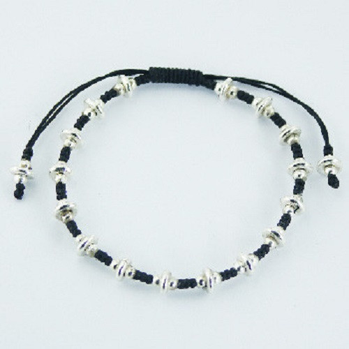Handcrafted Bracelet -Macrame Cord with Sterling Silver Beads