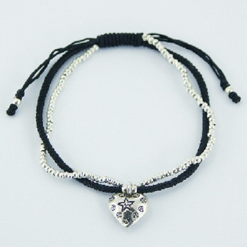 Bracelet  with Silver Heart Charm and beads on Macrame Cord