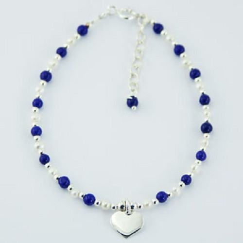 Bracelet with lapis lazuli & pearl beads -Sterling Silver Heart