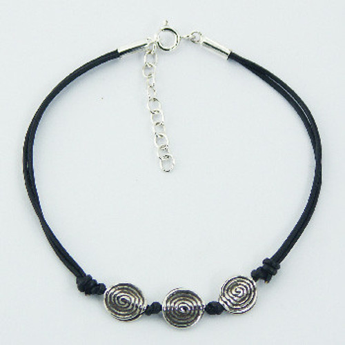 Handcrafted Bracelet with Silver Antiqued Spirals