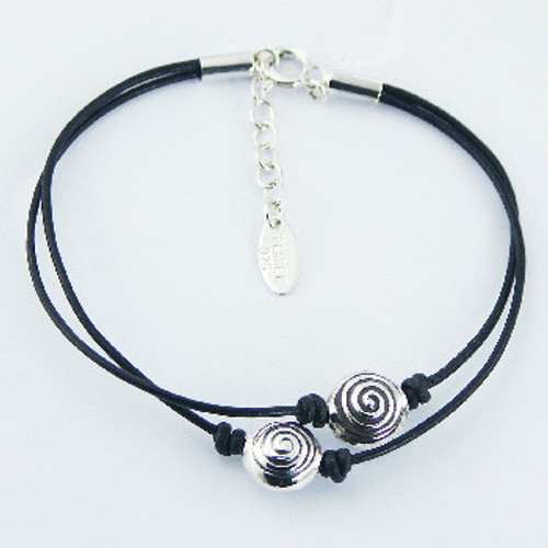 Handcrafted Bracelet Black Leather with Silver Beads