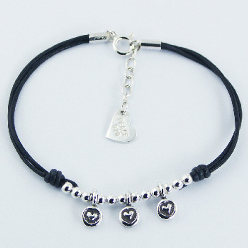 Handcrafted Bracelet Leather Silver Three Embossed Hearts