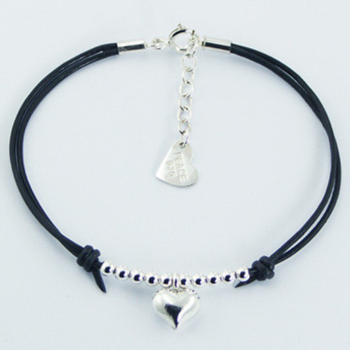 Handcrafted Bracelet Black Leather Silver Heart