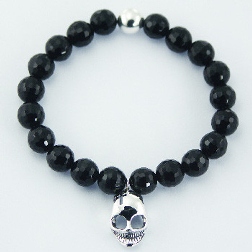 Bracelet Faceted Black Agate beads Silver Skull Stretch