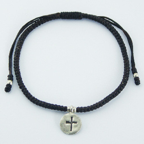 Handcrafted Bracelet Antiqued Silver Cross Charm