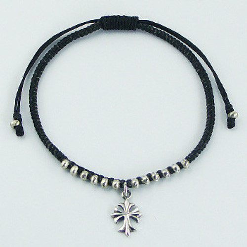 Handcrafted Bracelet  with Antiqued Silver Cross