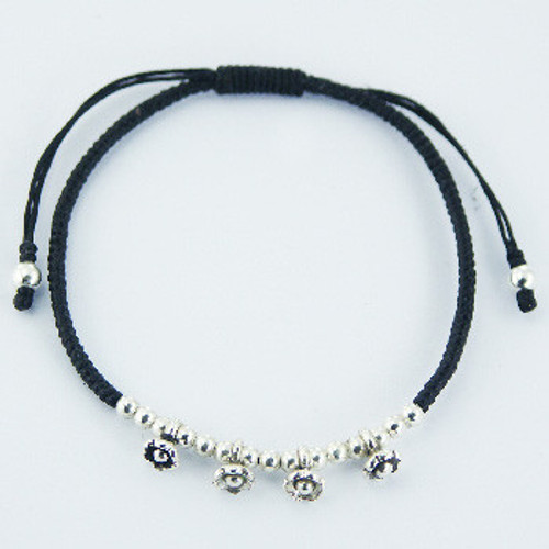Handcrafted Bracelet with Flowers & Silver Beads